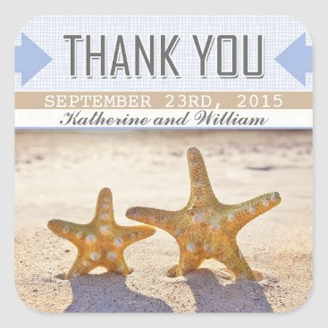 Beach Themed beach starfish pretty thank you stickers