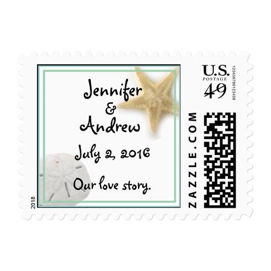 Beach Starfish & Sand Dollar Wedding Stamp