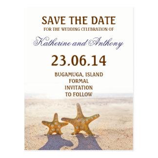 beach starfish save the date romantic postcard