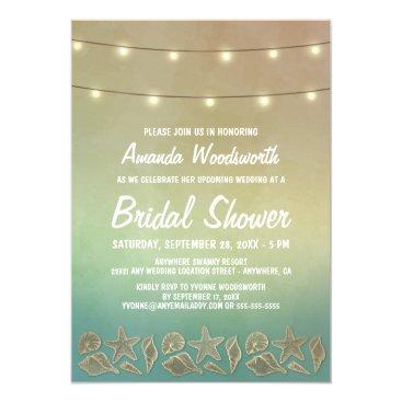 RusticWeddings Beach Starfish Seashell Bridal Shower Invitations