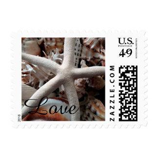 Beach Starfish Seashell Love Wedding Postage Stamp