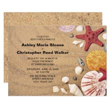 Beach Themed Beach, Starfish, Seashells Wedding Invitation