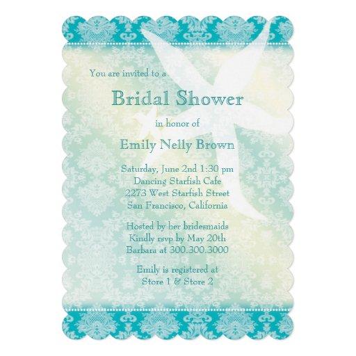Beach Starfish Summer Bridal Shower Invitations
