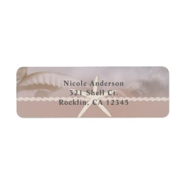 Beach Themed Beach Starfish Taupe Tan Chic Elegant Invitation Label