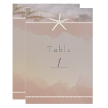 Beach Themed Beach Starfish Taupe Tan Chic Table Number Card