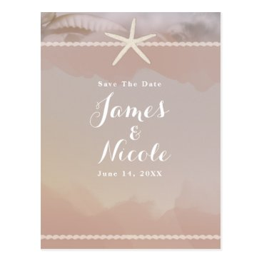 Beach Themed Beach Starfish Taupe Tan Engagement Save the Date Postcard