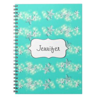Beach starfish turquoise white spiral notebook