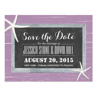 Beach Starfish Violet Weathered Wood Save the Date Postcard