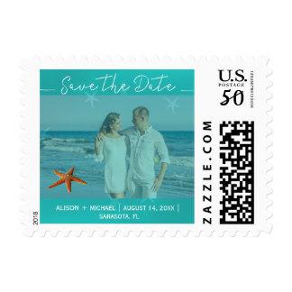 Beach starfish wedding aqua save date script photo postage