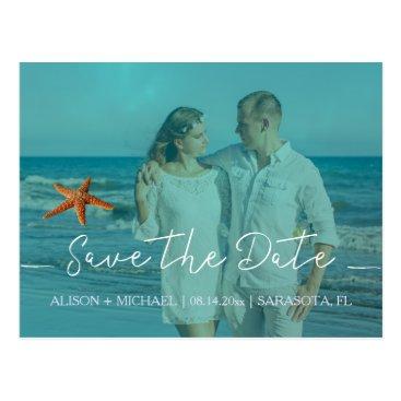 Beach Themed Beach starfish wedding aqua save date script photo postcard