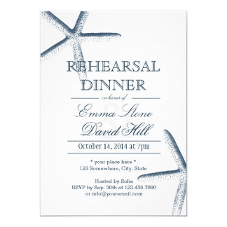 Beach Starfish Wedding Rehearsal Dinner Card