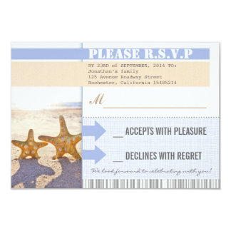 beach starfish wedding rsvp tickets card