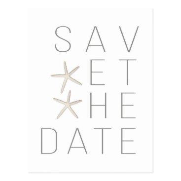 Beach Themed Beach Starfish White Minimal Elegant Save the Date Postcard
