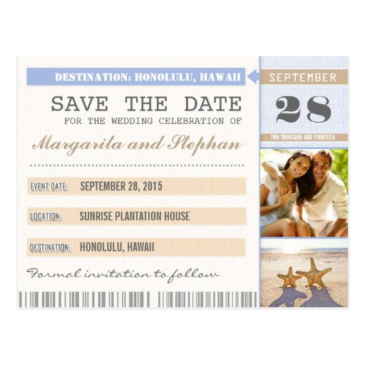 beach starfish & your photo save the date tickets postcards