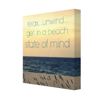 BEACH STATE OF MIND SAYING PHOTO WORD ART CANVAS PRINT