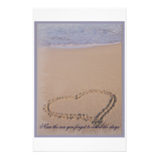 Beach Stationary Heart in Sand Stationery Paper