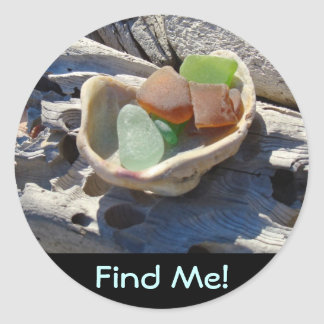 Beach stickers Find Me! Seaglass Shell Driftwood