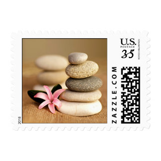 Beach Stones and Pink Flower Postage