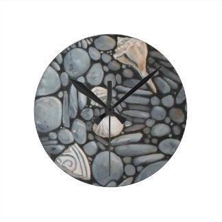 Beach Stones and Shells Clocks