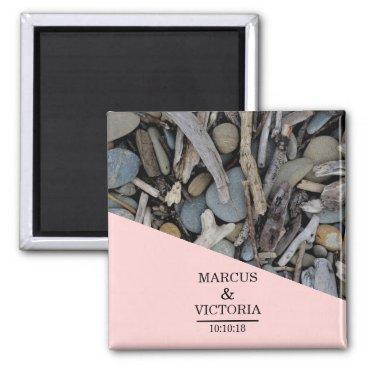 Beach Stones Driftwood Wedding Magnet