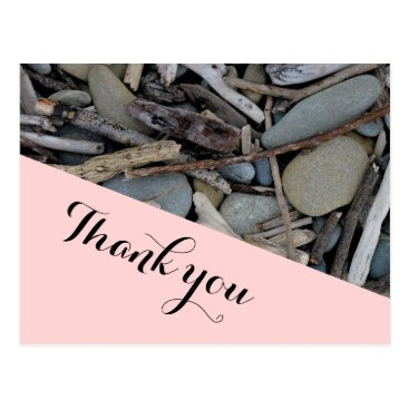 Beach Themed Beach Stones Driftwood Wedding Thank you. Postcard