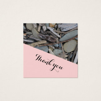Beach Stones Driftwood Wedding Thank you. Square Business Card