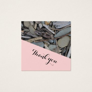 Beach Themed Beach Stones Driftwood Wedding Thank you. Square Business Card