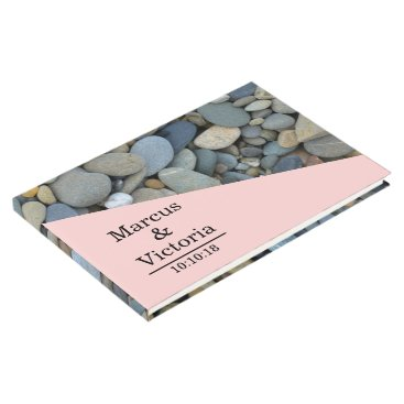 Beach Themed Beach Stones Pebbles Wedding Guest Book