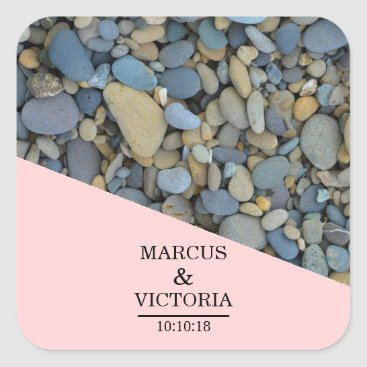 Beach Themed Beach Stones Pebbles Wedding Square Sticker