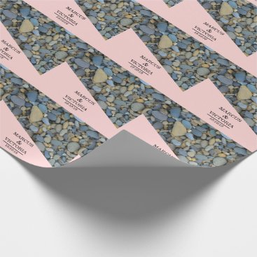 Beach Themed Beach Stones Pebbles Wedding Wrapping Paper