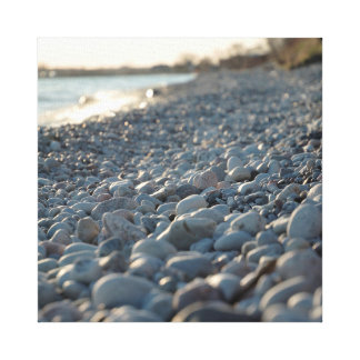 Beach Stones Water Glowing Evening Light Serene Canvas Print