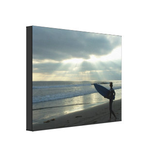 Beach Storm Surfer Stretched Print