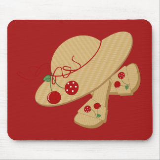 Beach Straw Hat and Sandals Mouse Pad