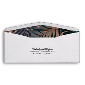 Beach String Lights and Palms Tropics Wedding Envelope