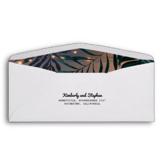 Beach String Lights and Palms Tropics Wedding Envelope