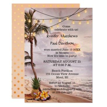 AnnesWeddingBoutique Beach String Lights Post Wedding Party Invitation