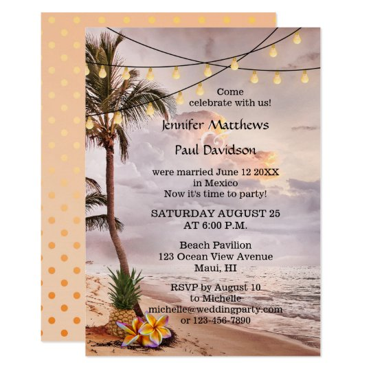 Beautiful Beach String Lights Post Wedding Party Invitation