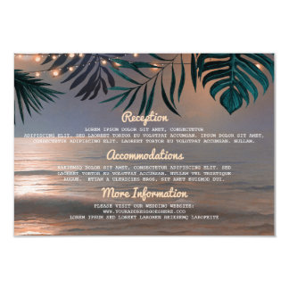 Beach String Lights Wedding Information Guest Card