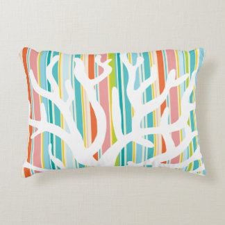 Beach Stripes and Coral Accent Pillow