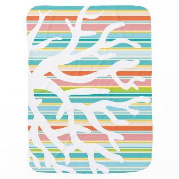 Beach Themed Beach Stripes and Coral Baby Blanket
