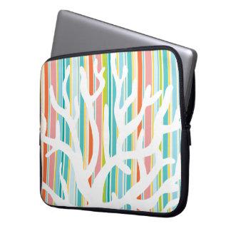 Beach Stripes and Coral Neoprene Laptop Sleeve