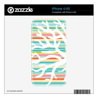 Beach Stripes and Coral Skins For iPhone 4