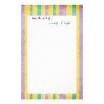 Beach Stripes Custom Name Personalized Stationery