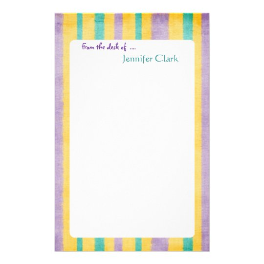 beach stripes custom name personalized stationery zazzle com