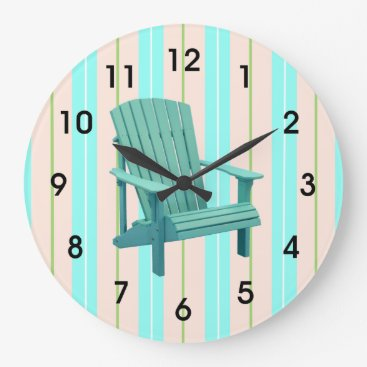 Beach Themed Beach Stripes With Adirondack Chair Large Clock