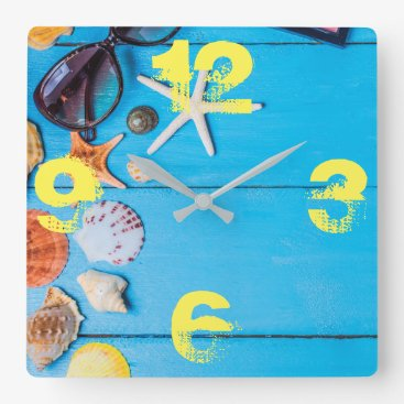 Beach Themed Beach Stuff. Summer is Calling. Square Wall Clock