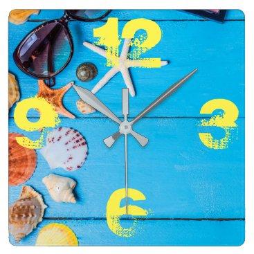 Beach Stuff. Summer is Calling. Square Wall Clock