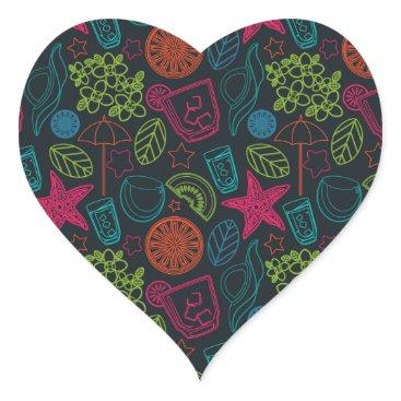 Beach Themed Beach style design for hot summer days with fruit heart sticker