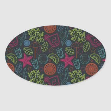 Beach Themed Beach style design for hot summer days with fruit oval sticker