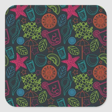 Beach Themed Beach style design for hot summer days with fruit square sticker